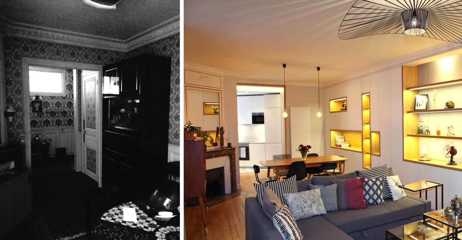 Photo avant - après de la salle de séjour de l'appartement rénové