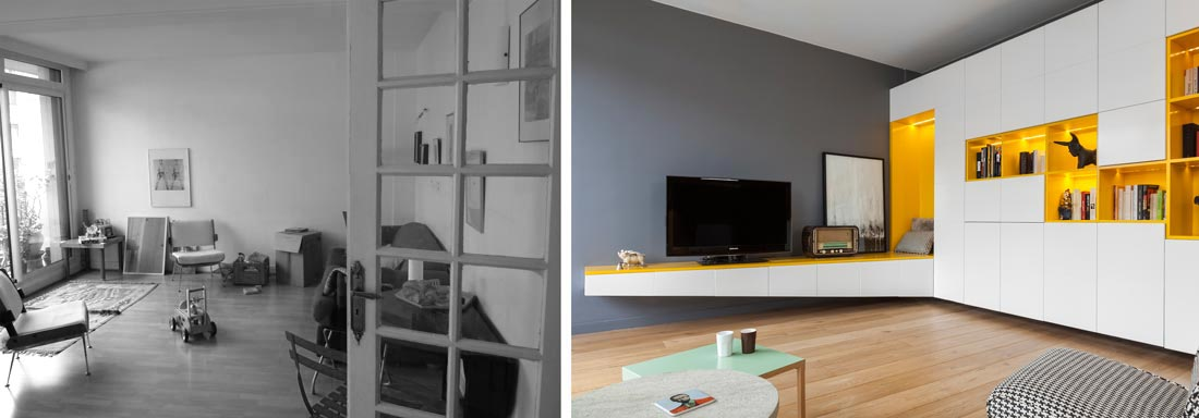 r novation d 39 une appartement 3 pi ces par un architecte d. Black Bedroom Furniture Sets. Home Design Ideas