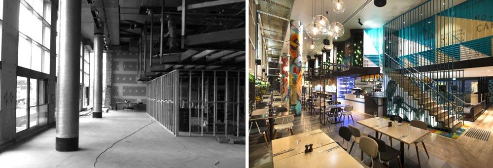 avant apr s architecture commerciale d 39 un restaurant bar de 450m2. Black Bedroom Furniture Sets. Home Design Ideas