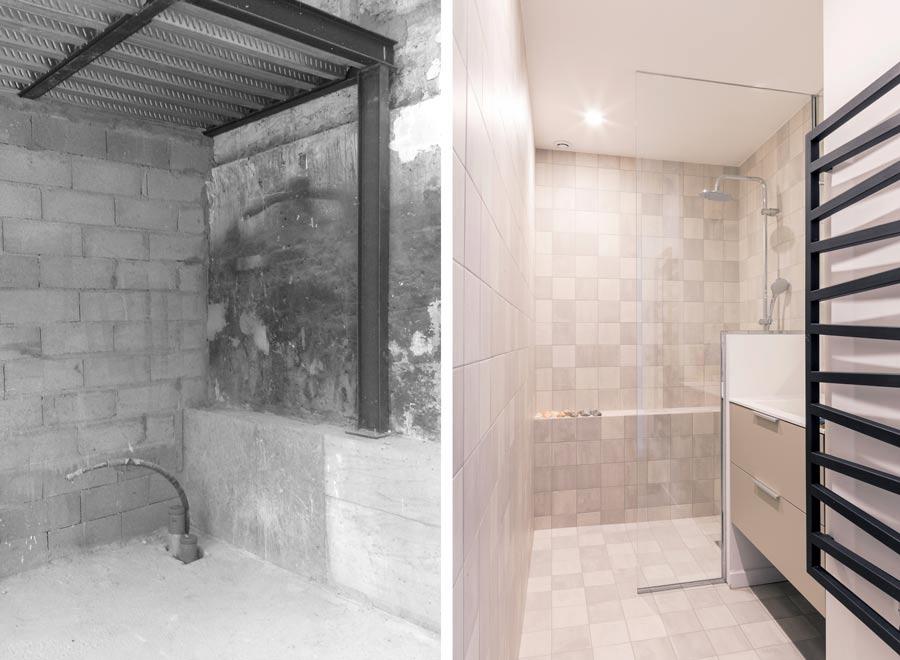 Aménagement d'une salle de bain dans un loft par un architecte d'intérieur en photo avant-après