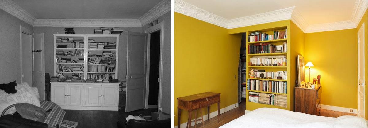 Avant - aprés salon d'un appartement aprés renovation par un architecte d'intérieur rville