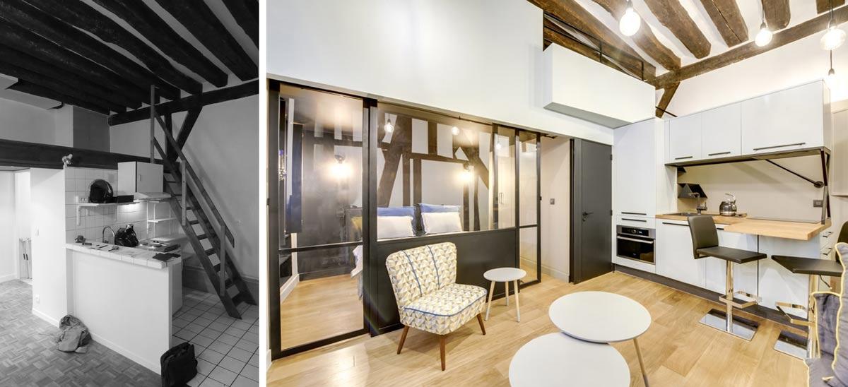 Transformation d'un studio en appartement 2-3 pièces en photos avant - après
