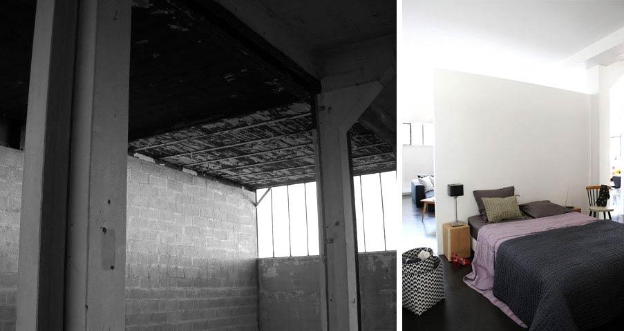 avant apr s r novation d 39 un loft au design contemporain de 150m2. Black Bedroom Furniture Sets. Home Design Ideas