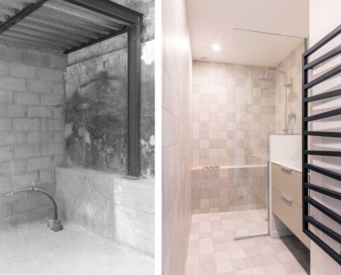 Aménagement Intérieur Salle Bain avant-après : aménagement d'un loft au style industriel de 63m²
