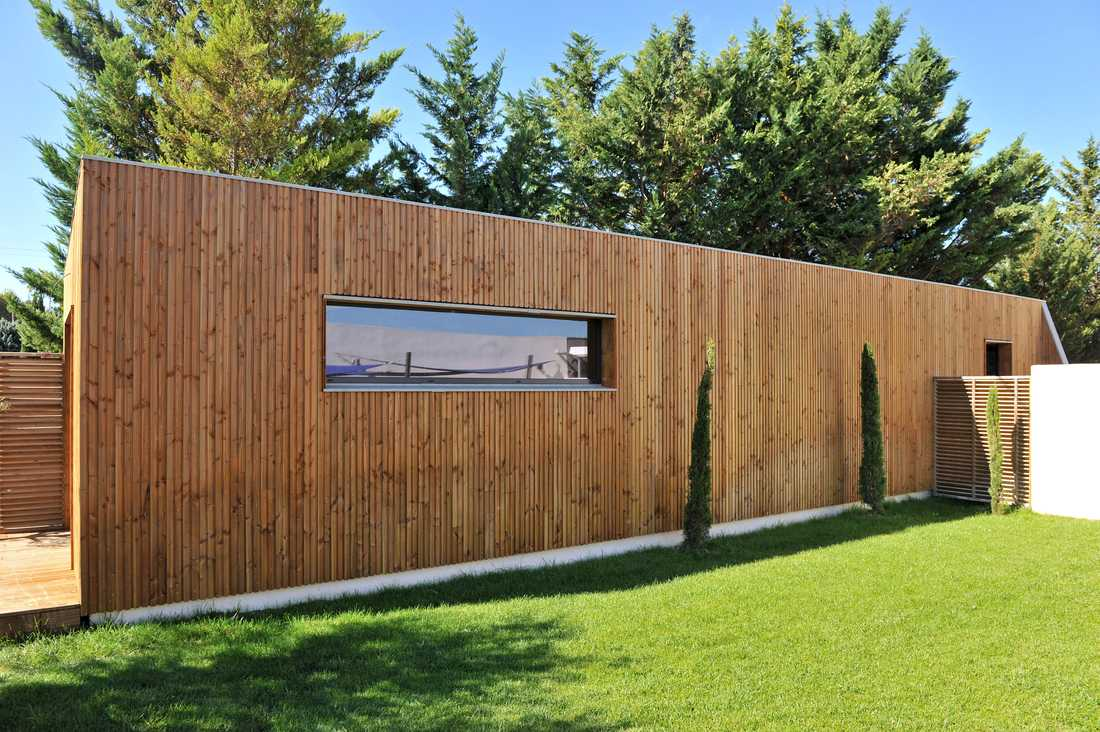 Construction d'un showroom en bois par un architecte